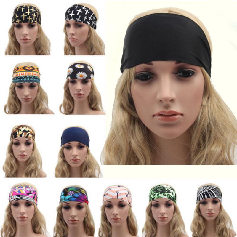 Women Retro Polka Dot Wide Headband Stretch Hairband Casual Hair Band Turban