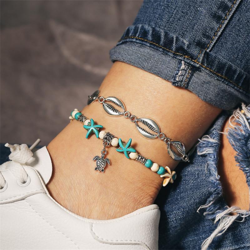 2Pcs Set Boho Sea Turtle Turquoise Beads Anklet Beach Foot Sandal Ankle Bracelet