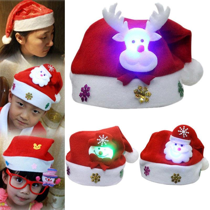 5f30643dc8466 1pcs Adult Kids Christmas LED Light Hat Santa Claus Elk Snowman Xmas ...