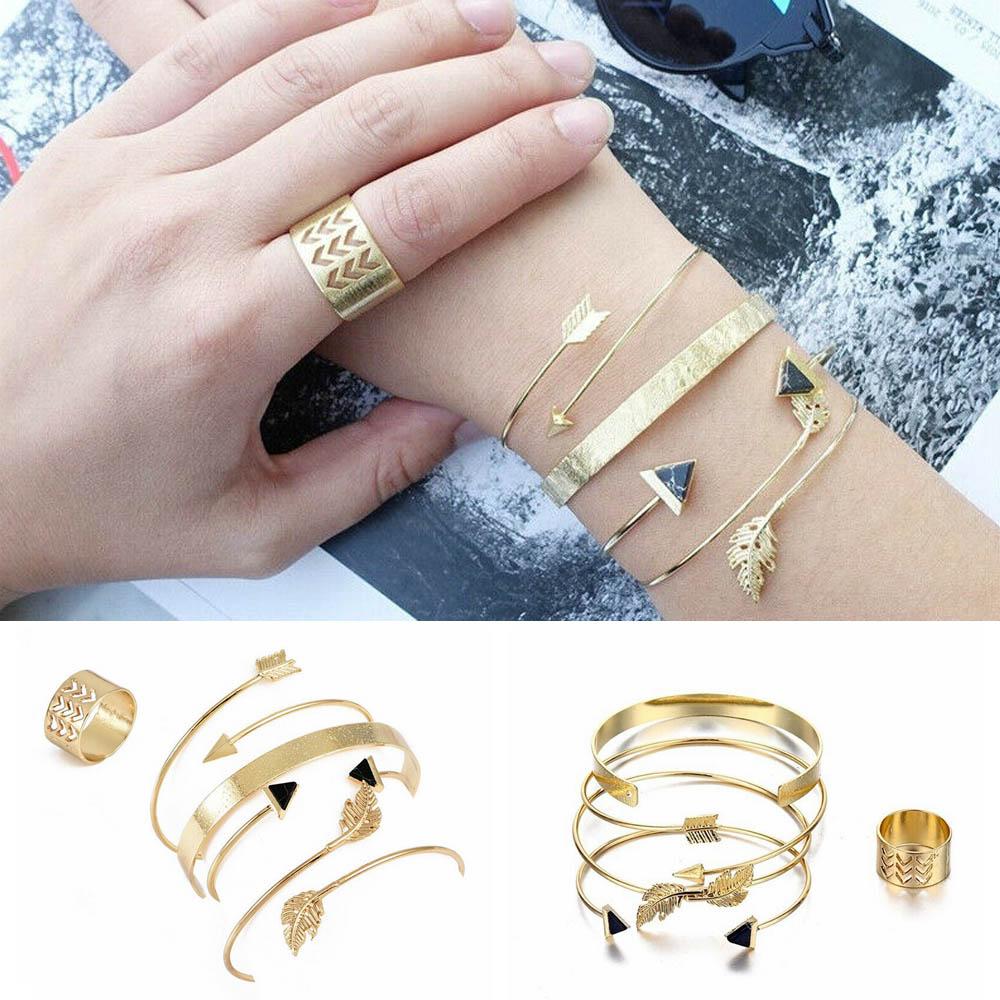 5pcs//set Fashion Women/'s Rhinestones Crystal Wrist Chain Bracelet Anklet Gift