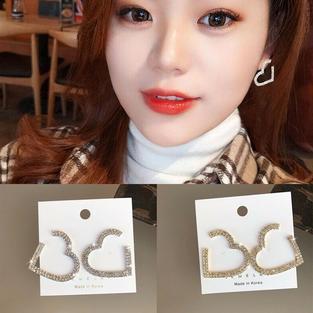 Women Silver Gold Crystal Heart Hoop Ear Stud Earrings Wedding Bridal Jewelry