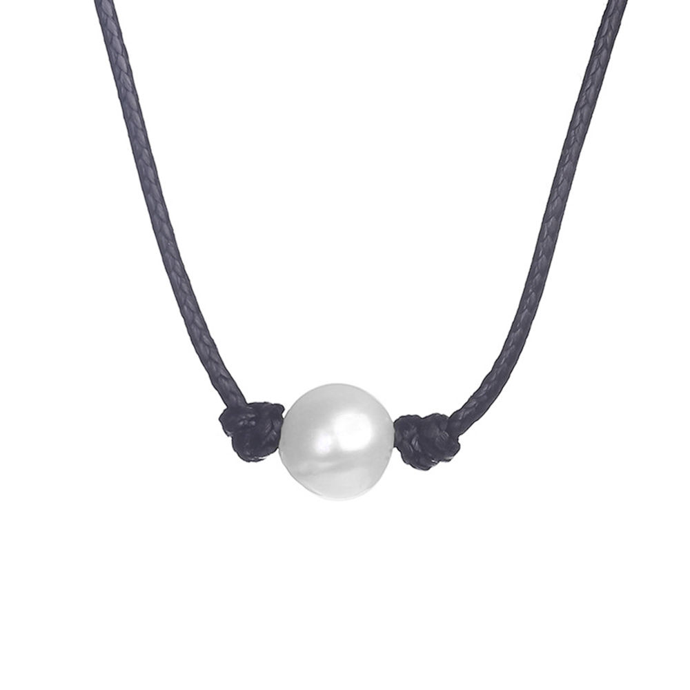 Elegant Freshwater Pearl Necklace Leather Cord Choker DIY ...