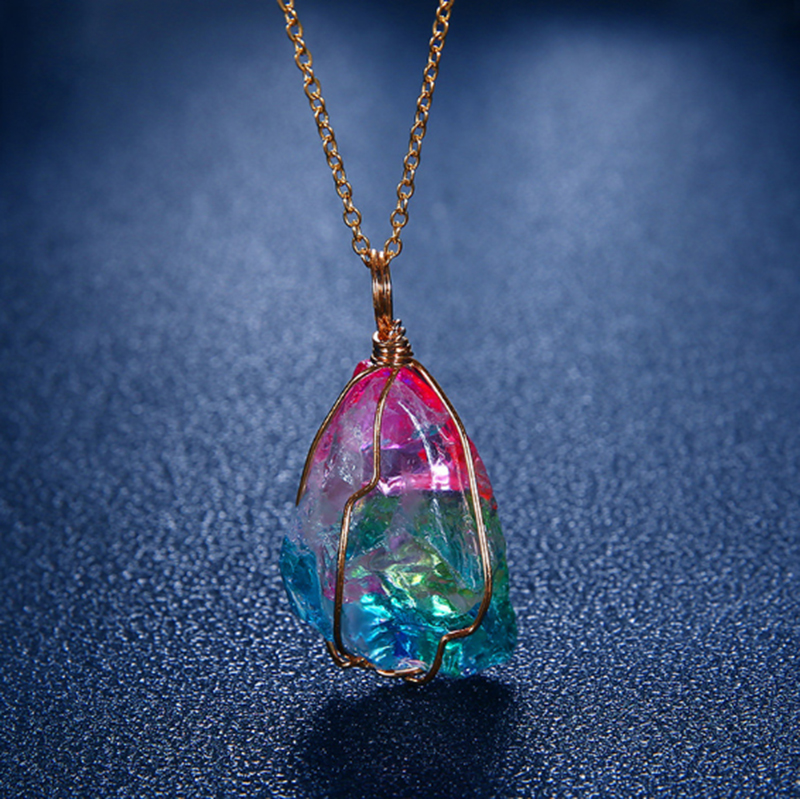 Women/'s  Girls Necklace With the Seven Chakra Crystals on a Short Silver Plated Chain