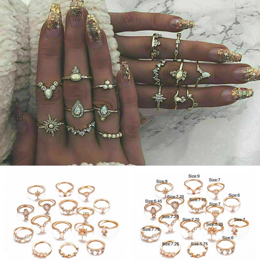 6Pcs//Set Womens Retro Crystal Star Moon Midi Knuckle Rings Boho Fashion Jewelry