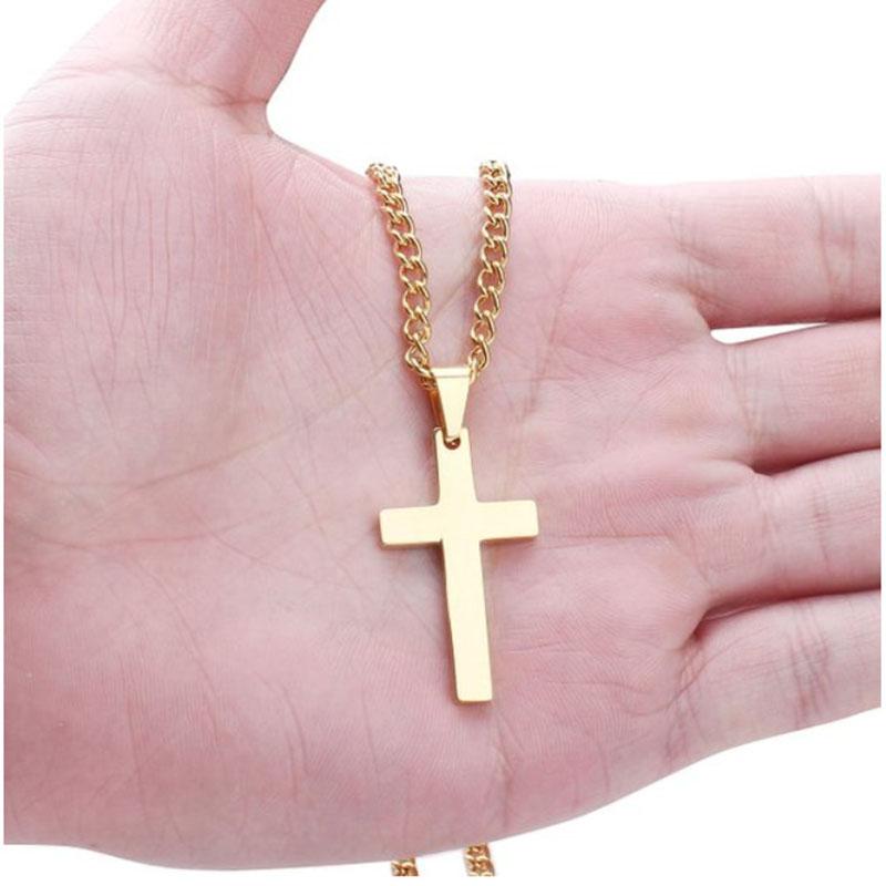 """30/""""MEN Stainless Steel 3mm Gold Box Link Chain Plain Ankh Key Cross Pendant*G106"""