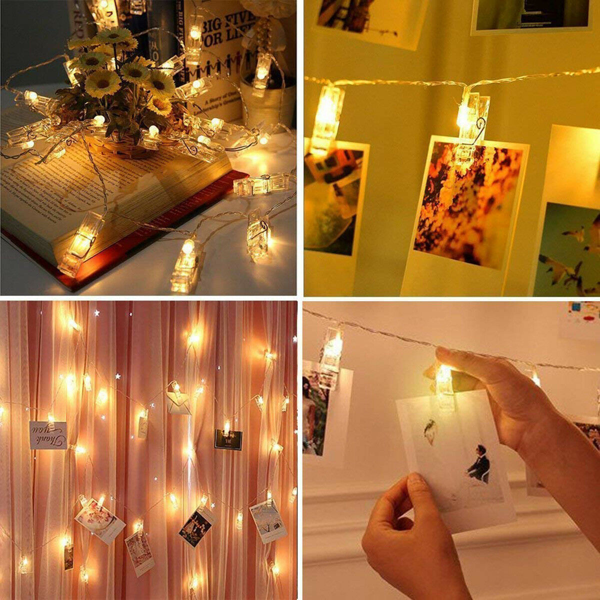 50 LED Photo Clip Fairy String Lights Wedding Party Home Xmas Hanging Card Decor