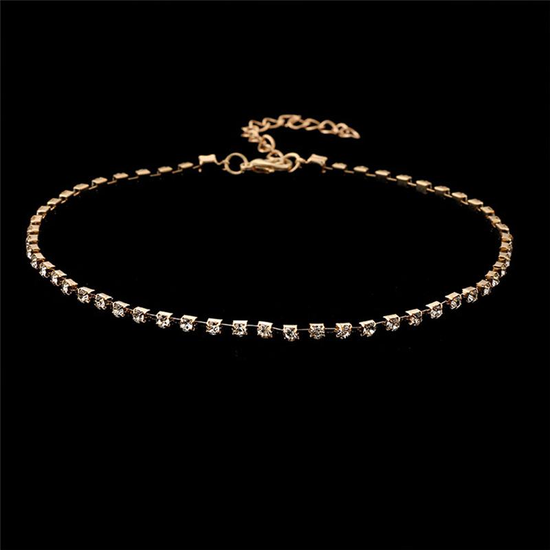 Womens Charm Choker Necklace Crystal Pendant Tennis Chain Chunky Jewelry Fashion
