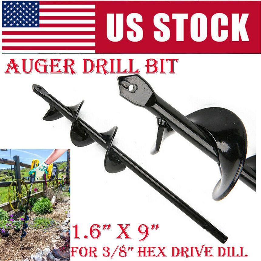 "1.6"" X 9"" Garden Auger Bit For Plant Flower Bulb With Garden Auger Drill Bit"