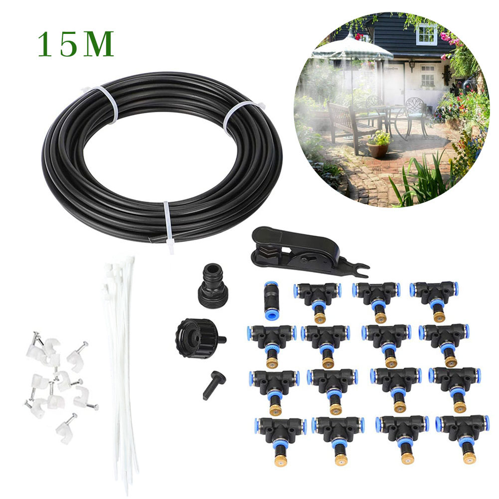 Outdoor Misting Cooling System Fan Cooler Patio Water Mister Mist Nozzles Kit