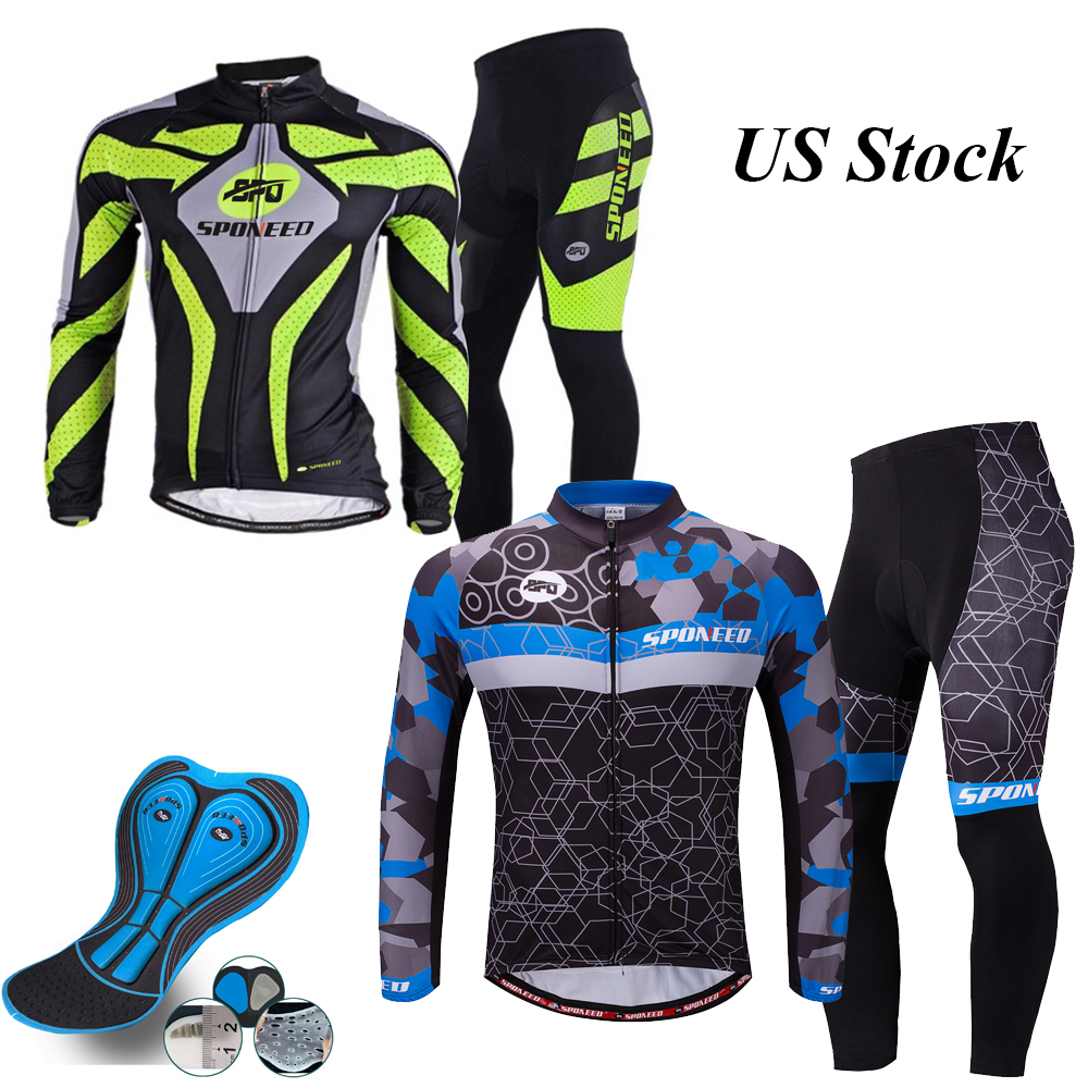 Men/'s Cycling Set Long Sleeved Jersey Pants Padded Tights Bike Bicycle Clothing