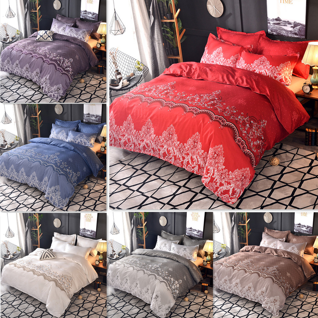 Luxury Nordic Lace Quilt Doona Duvet Covers Set Single Queen King Bedding Set Ebay