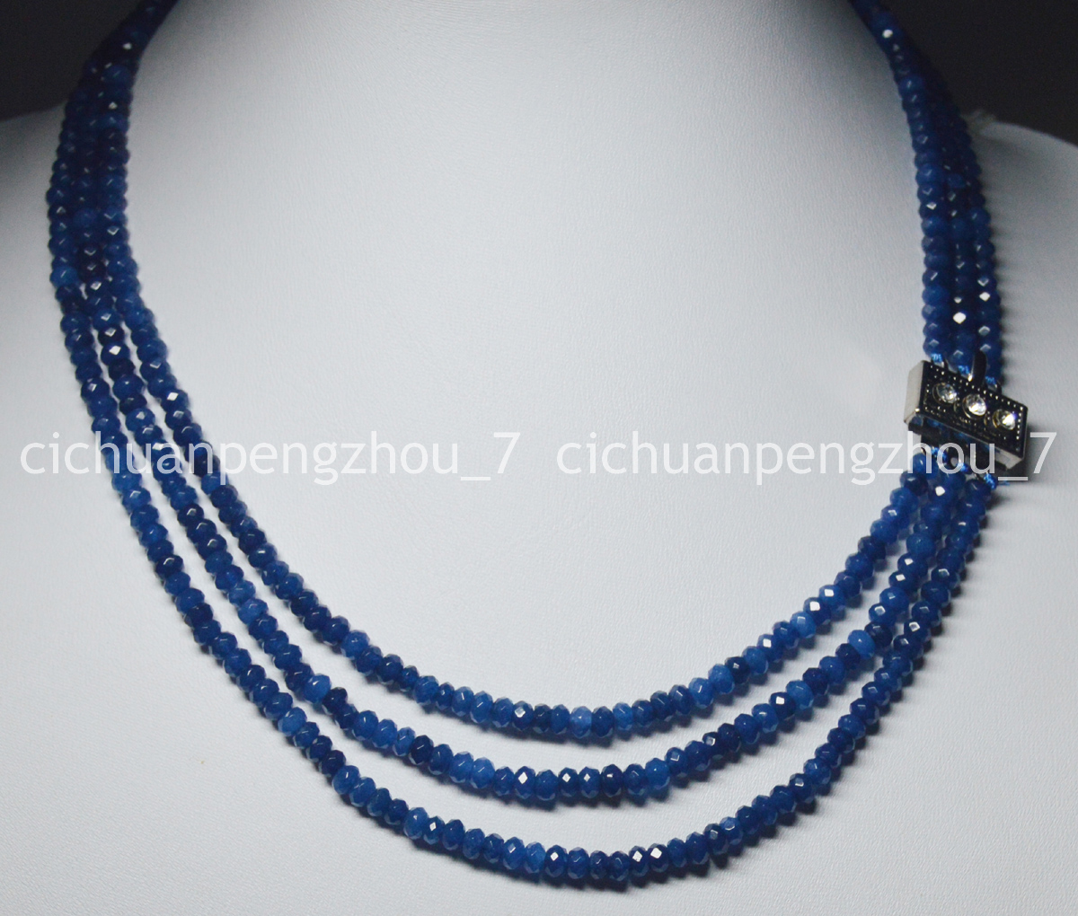 NATURAL 3 Rows 2X4mm FACETED AQUAMARINE BEADS NECKLACE 17-19/'/'