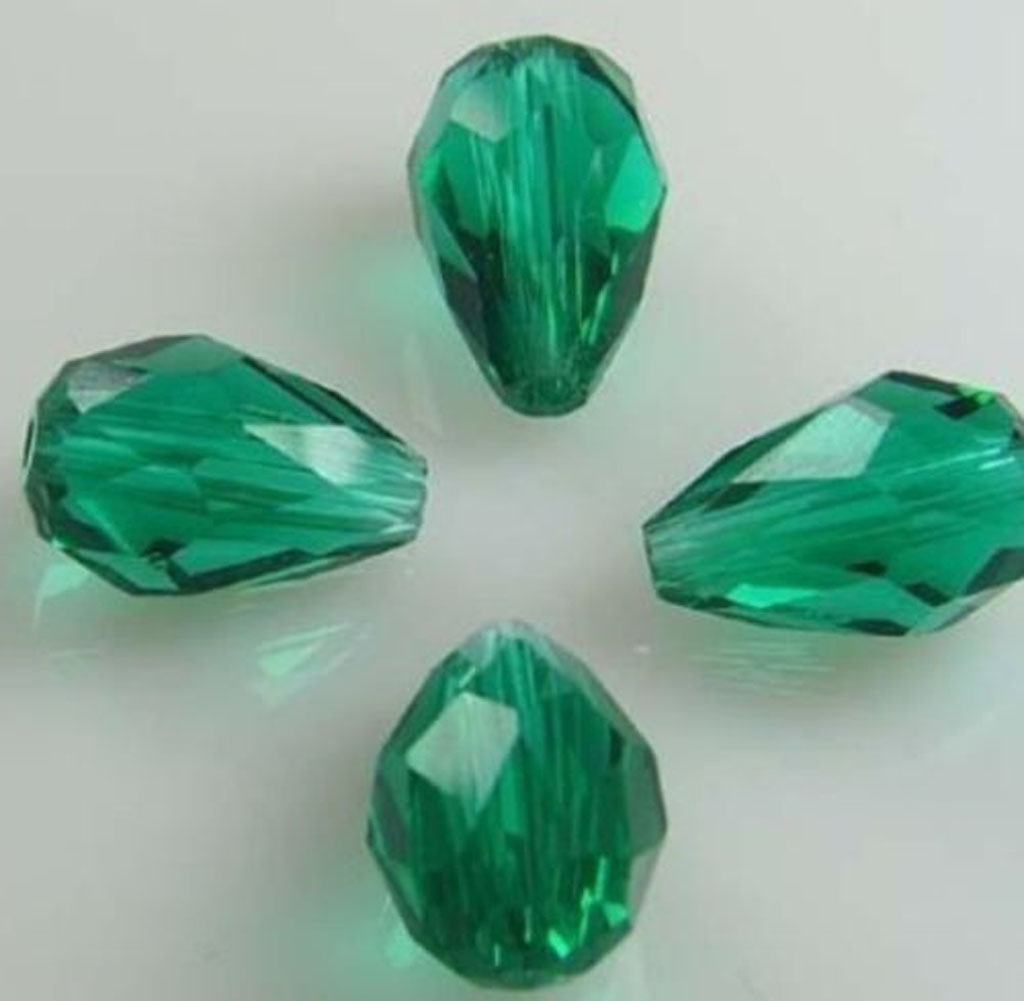 """Green 8x12mm Faceted Emerald Drop Gemstone Loose Beads 15/"""""""