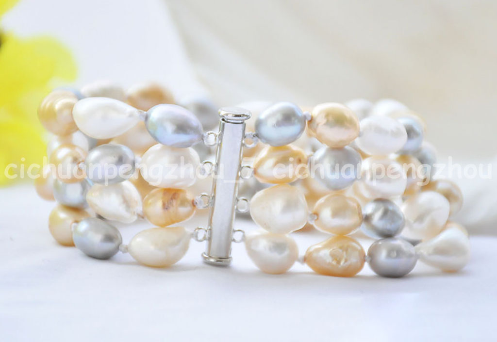 P3170 4row 12 mm blanc baroque Freshwater Cultured Pearl Bracelet 8 inchs