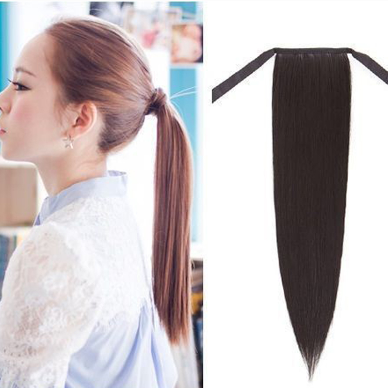 16inch 70g Clip In Ponytail Hair Extension Wrap On Straight Human
