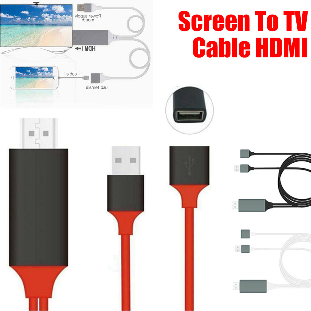 new style f6b49 065ba Details about For iPhone X 7 6S 5S SE 8 Plus USB MHL To HDMI HDTV 1080P TV  Adapter Cable HD