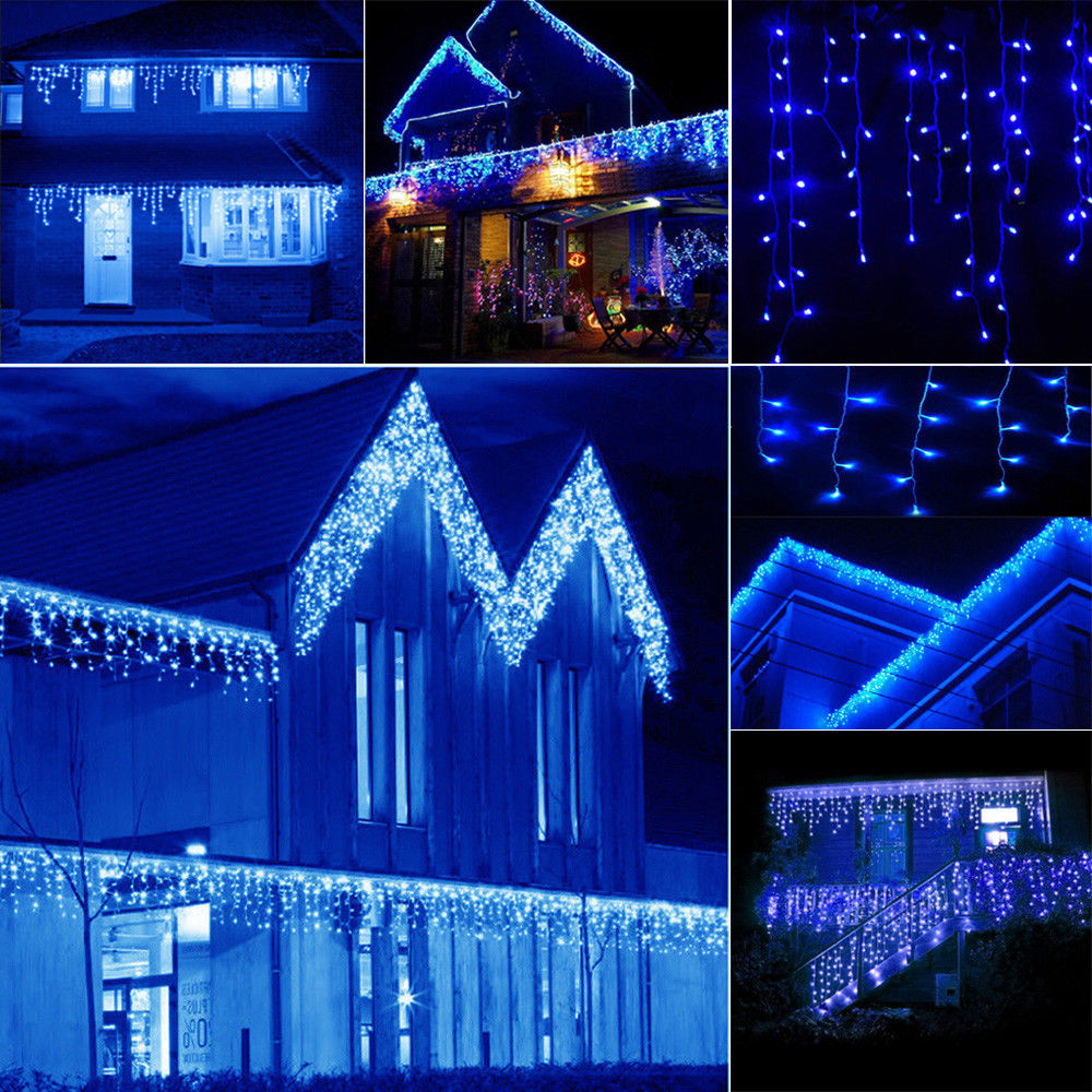 Blue 10~100FT 96~960 LED Fairy String Icicle Curtain Light Outdoor ...