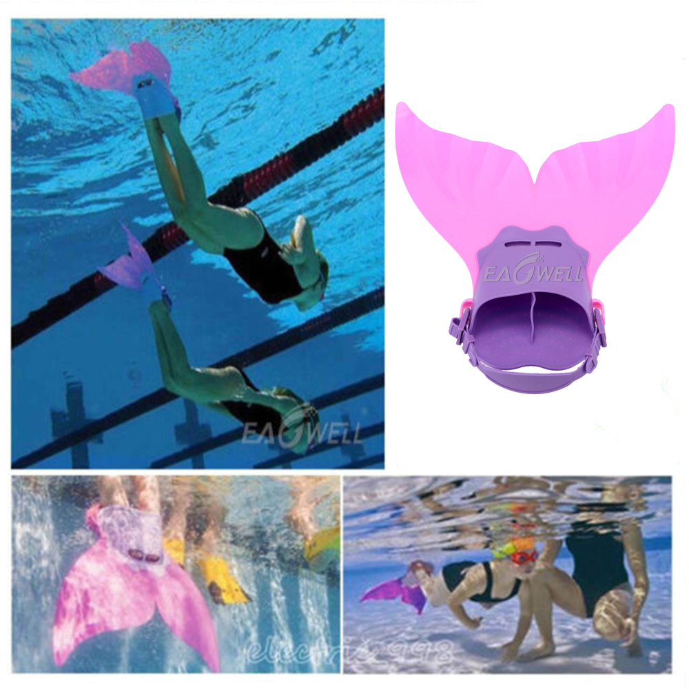 Kids Girls Mermaid Tail Swimming Diving Monofin Swimmable Fin Flipper Cosplay