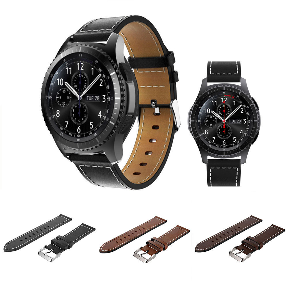 genuine leather watch band strap bracelet for samsung gear s3 frontier classic ebay