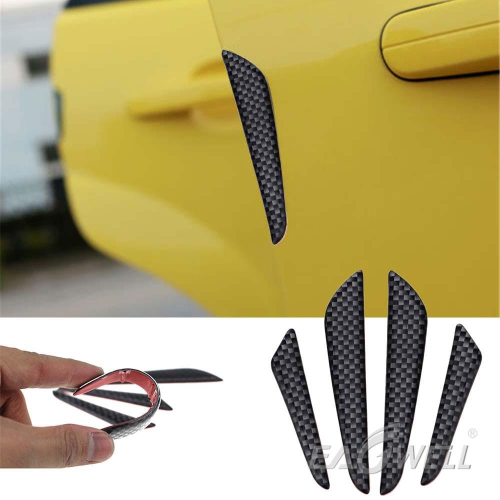 4x Anti-collision Trim Carbon Fiber Car Door Edge Guard Strip Protector Bump ua