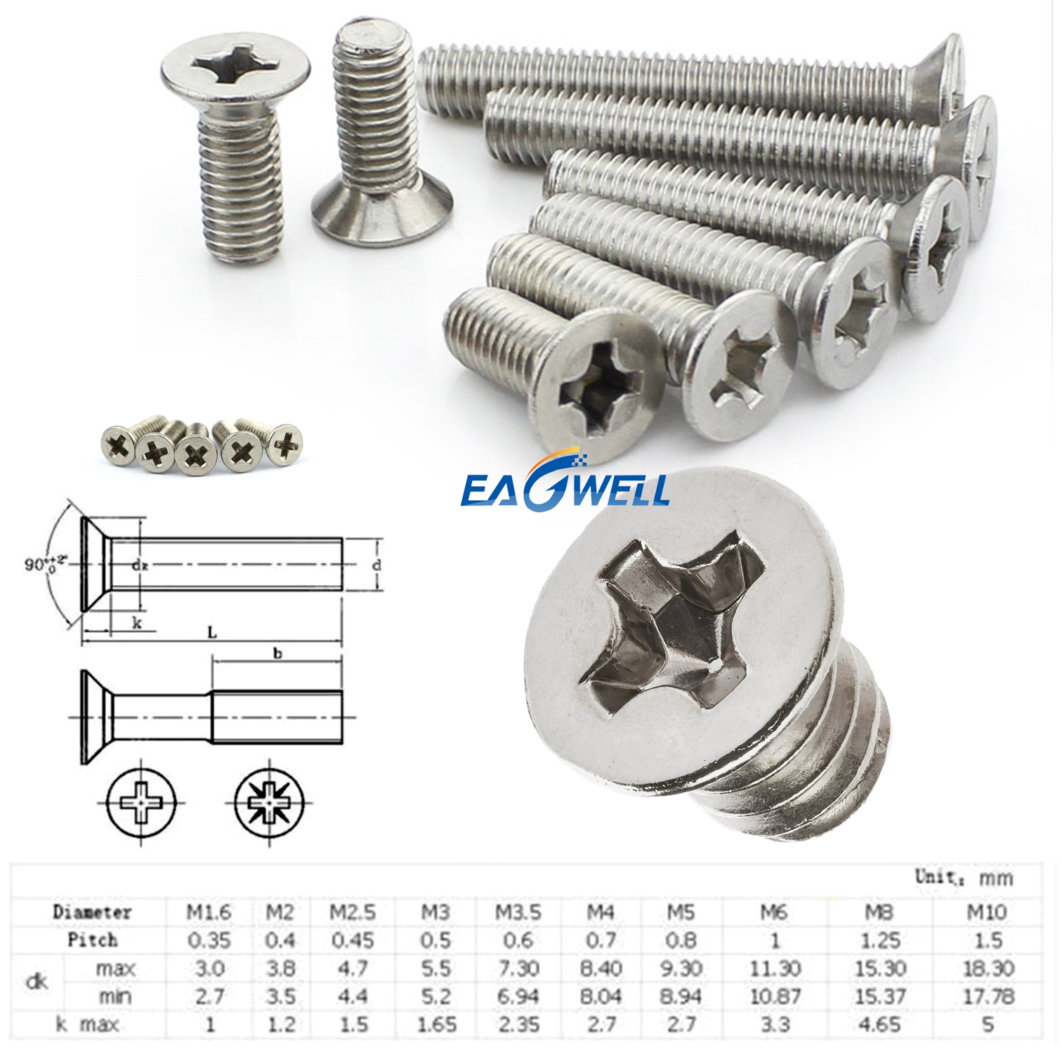 20 Pcs 5.2mm Thread Metal Furniture Phillips Connector Nuts Silver Tone