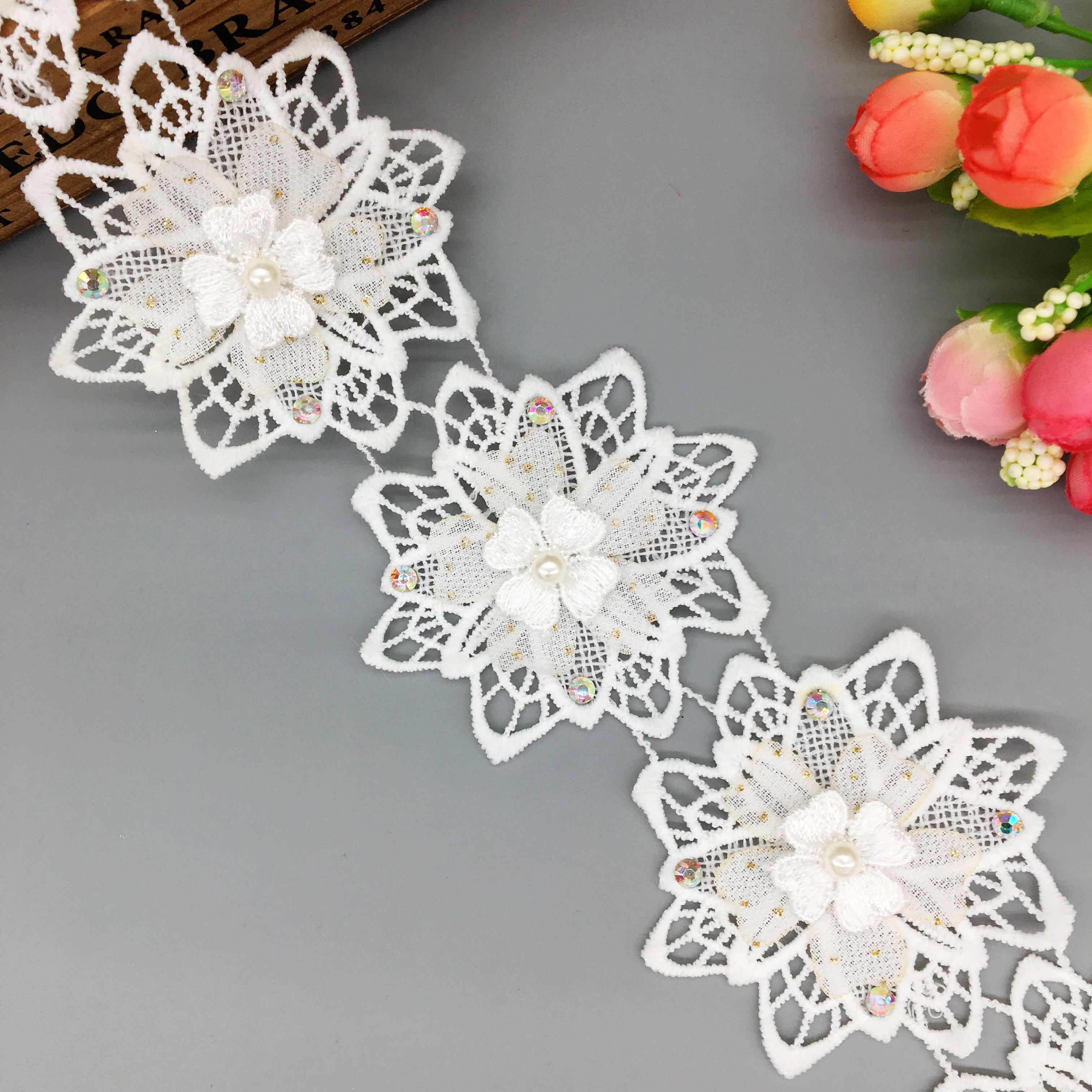 1 yd 3D Flower Pearl Embroidered Lace Trim Ribbon Wedding Applique Sewing Craft