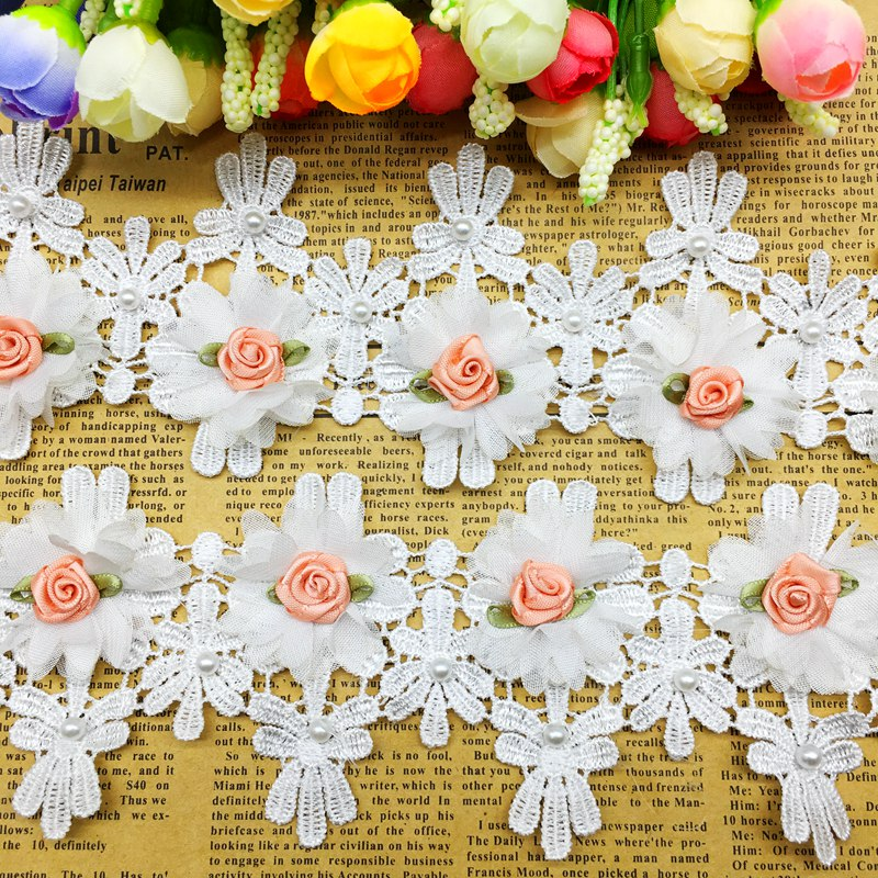 Details About 1 Yard Rose Flower Tel Lace Trim Fabric Wedding Patchwork Ribbon Sewing Craft