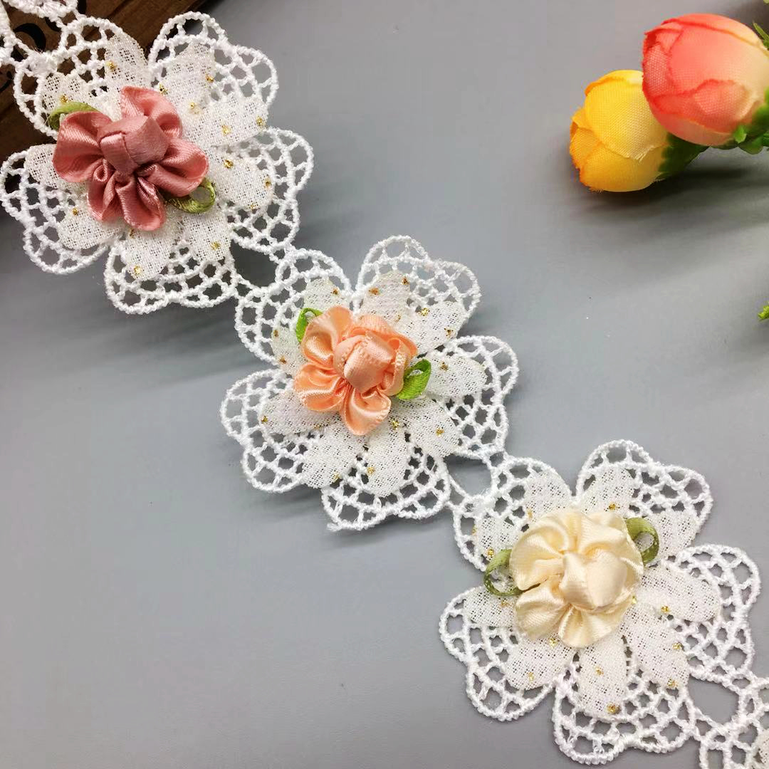10x Multicolor Flower Embroidered Lace Trim Ribbon Wedding Applique Sewing Craft