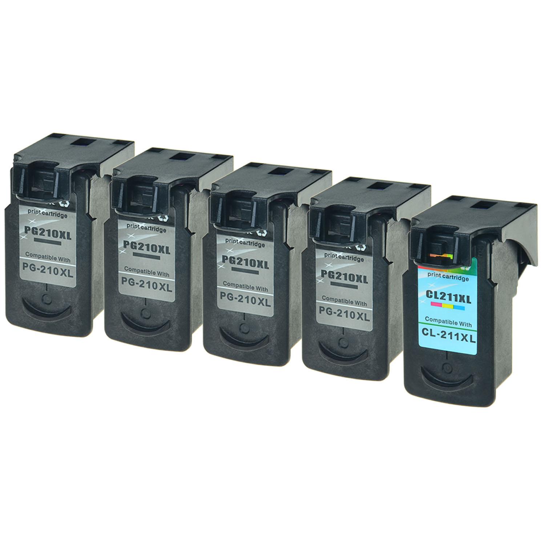5 PK Black PG 210XL Color CL 211XL Ink Cartridge Set For Canon PIXMA MP280 MP480