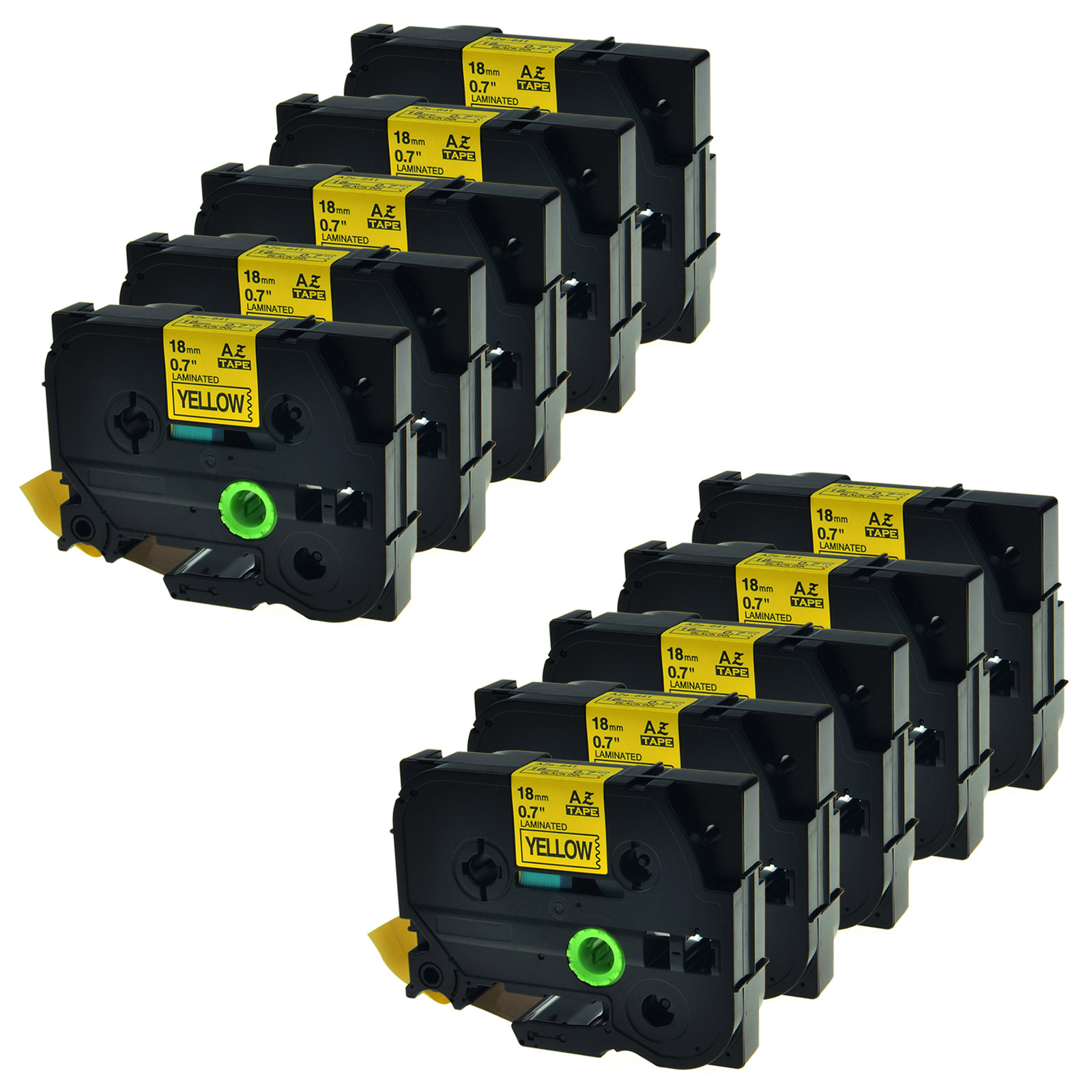 10PK TZe641 TZ641 Black On Yellow Label Tape For Brother P-Touch PT-170 18mm