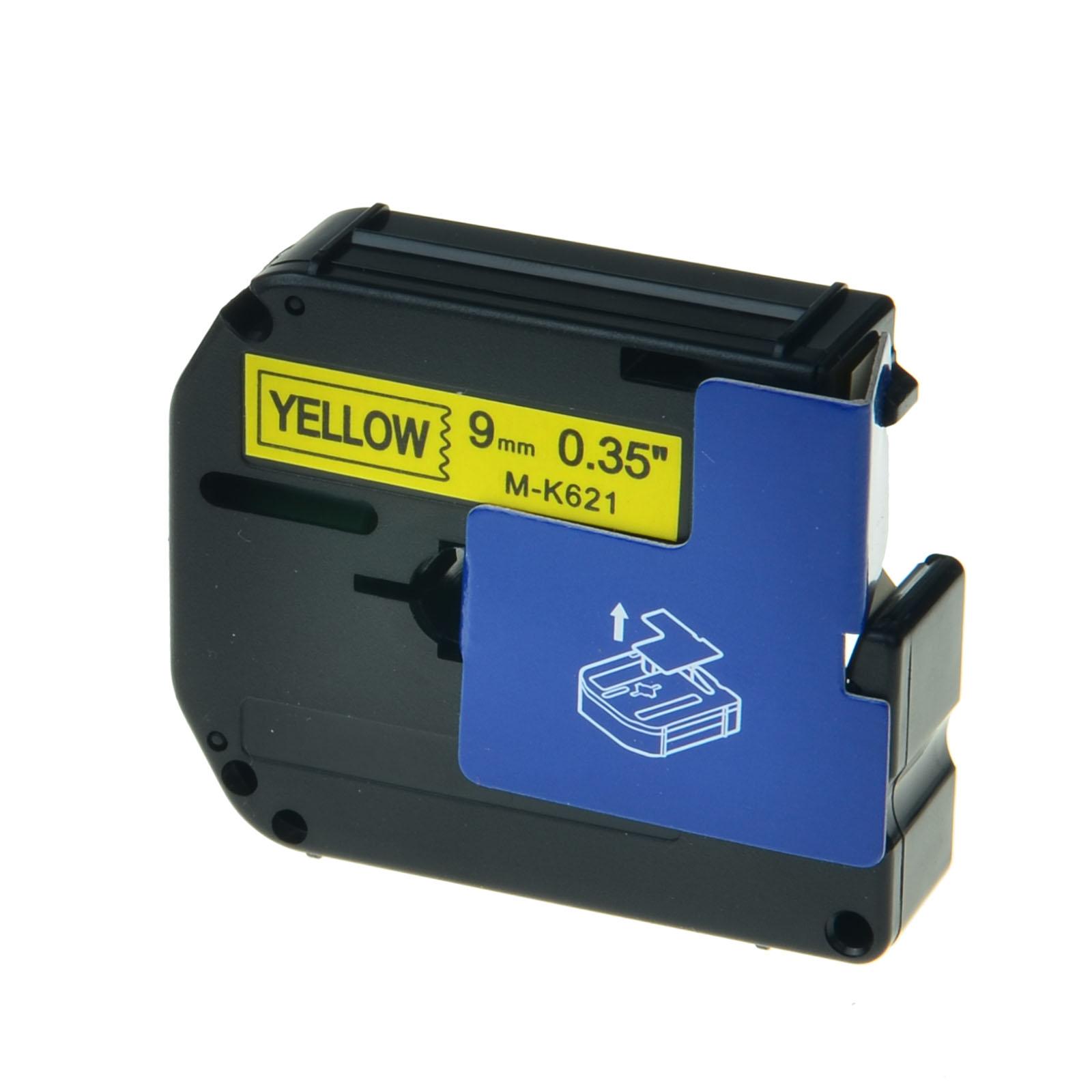 10x Schriftband für Brother TZ-621 TZE-621 8m//9mm Schwarz auf Gelb Farbband