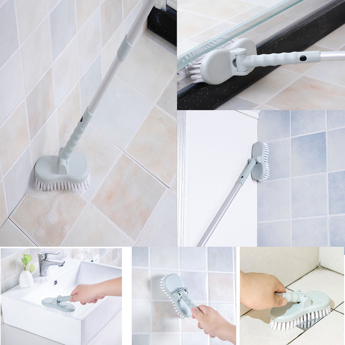 Spring Cleaning Adjust Bathroom Wall Floors Scrub Bathtub Tile Long ...