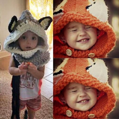 b4c936821bb Winter Beanie Baby Child Animal Warm Fox Hat Hooded Scarf Earflap Knit Caps  Wool