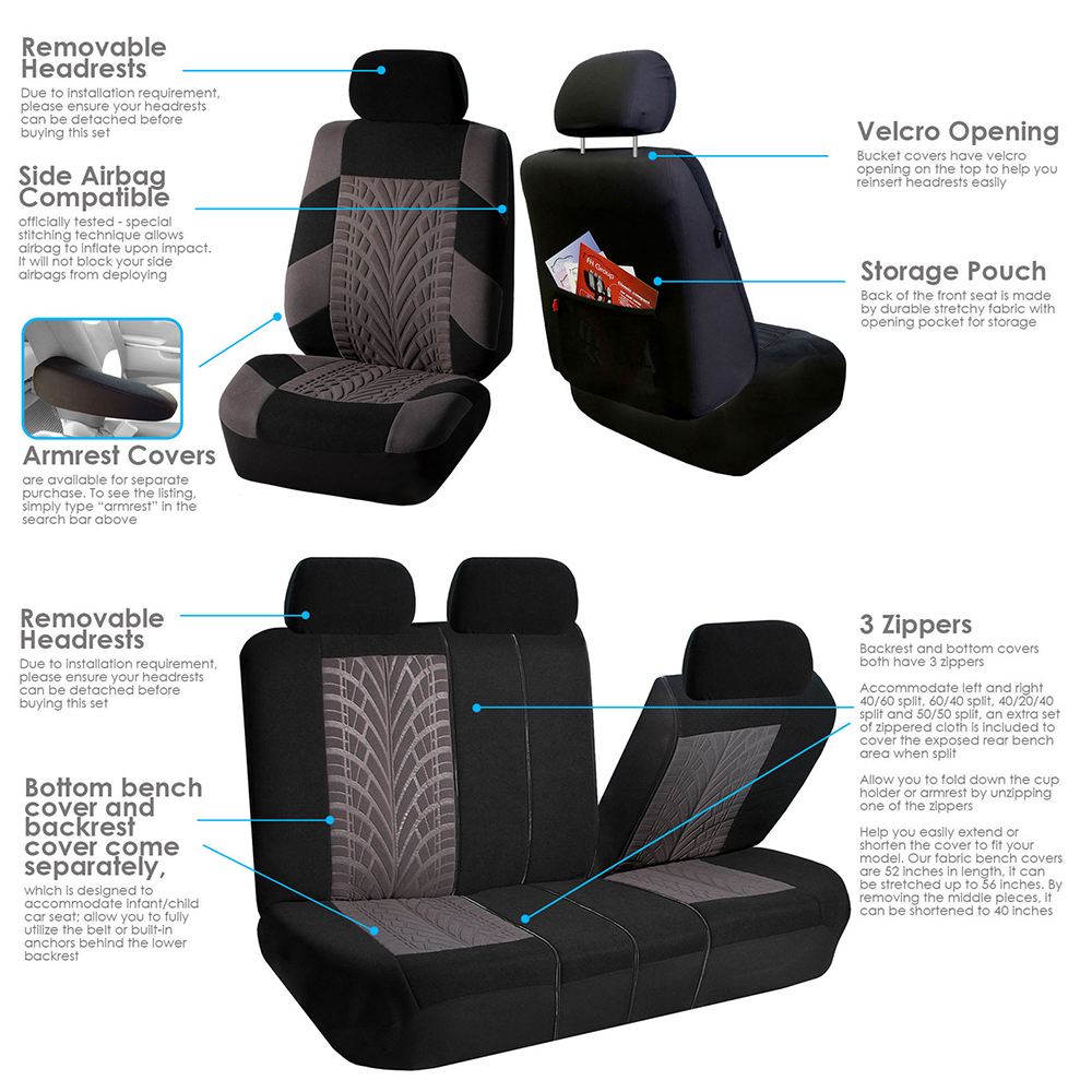 Remarkable Details About Car Seat Cover For Auto Split Bench Gray Compatible 50 50 40 60 60 40 Rear Ben Dailytribune Chair Design For Home Dailytribuneorg