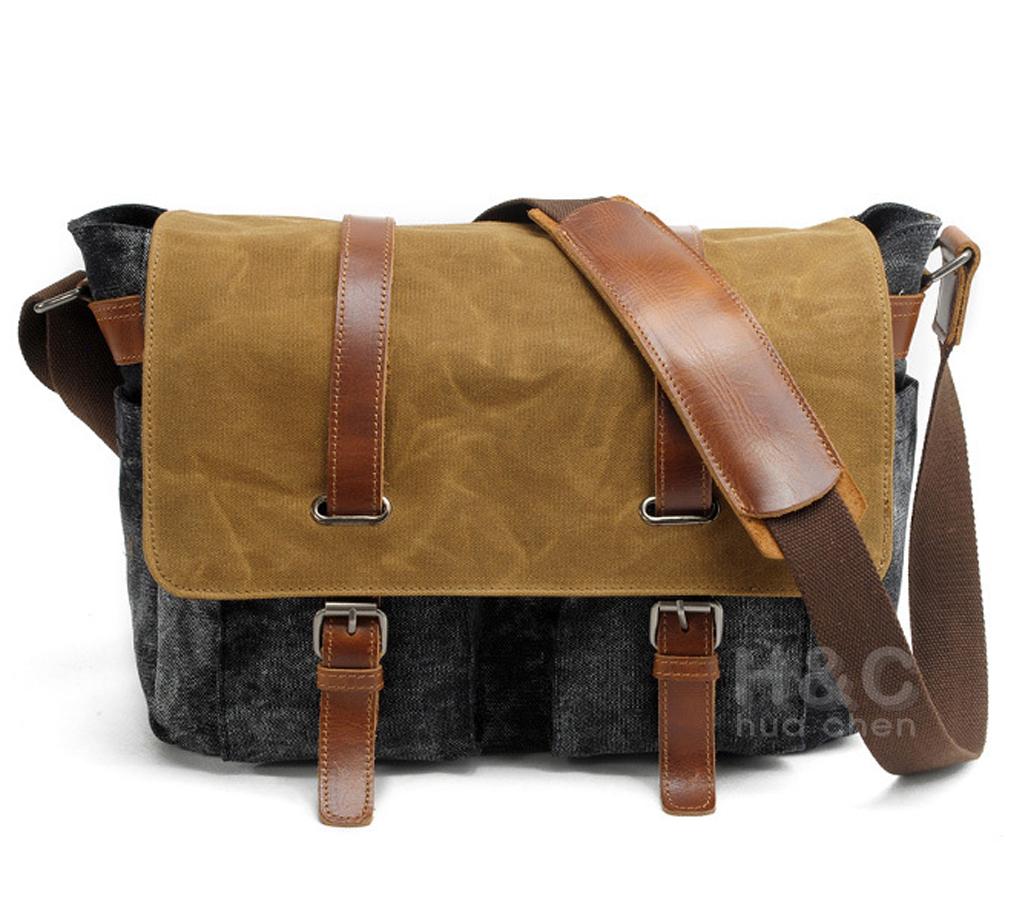 6625709767d Men s Canvas Leather Schoolbag Satchel CrossBody Laptop Shoulder Messenger  Bag