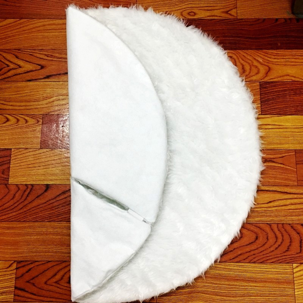 Round White Fluffy Plush Christmas Tree Skirt Mat Xmas