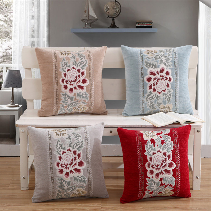 Details About Chenille Embroidery Pillow Case Cover Sofa Cushion Home Office Car Decor