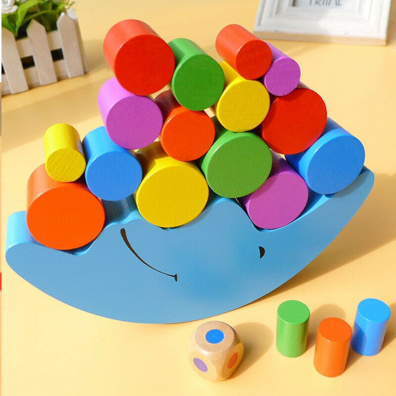 Moon Equilibrium Game Wooden Stacking Blocks Balancing Puzzle Game Toy for Child