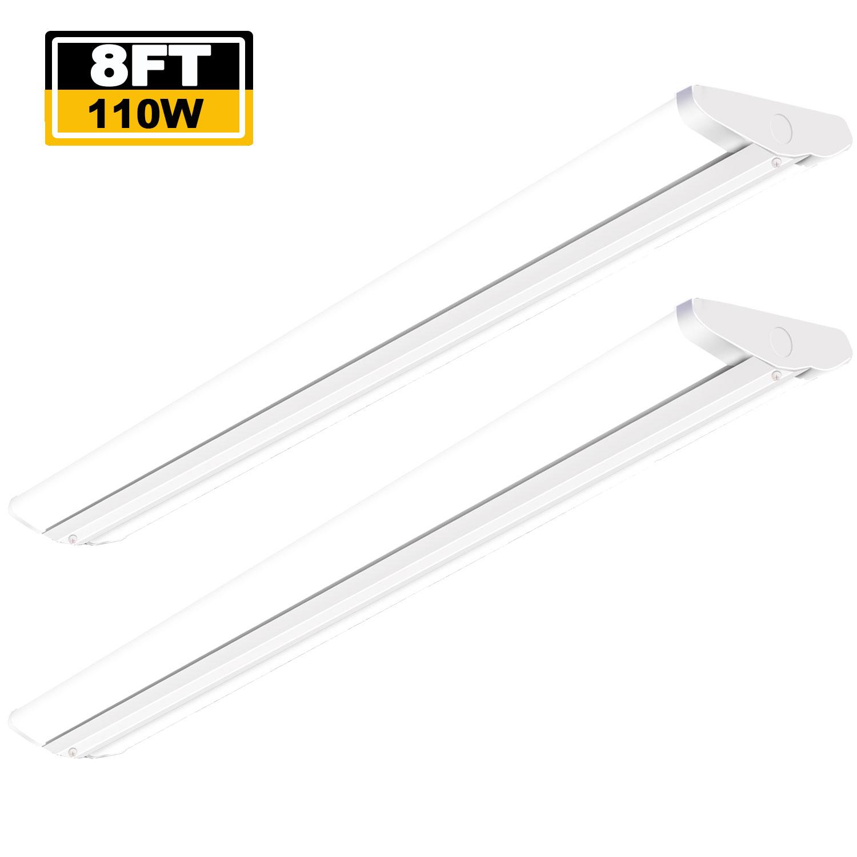 8 Ft 2 Lamp Fluorescent Strip Light White No Ssf2964wp 8ft: 8 Foot LED Garage Warehouse Light 110W Ultra Slim LED