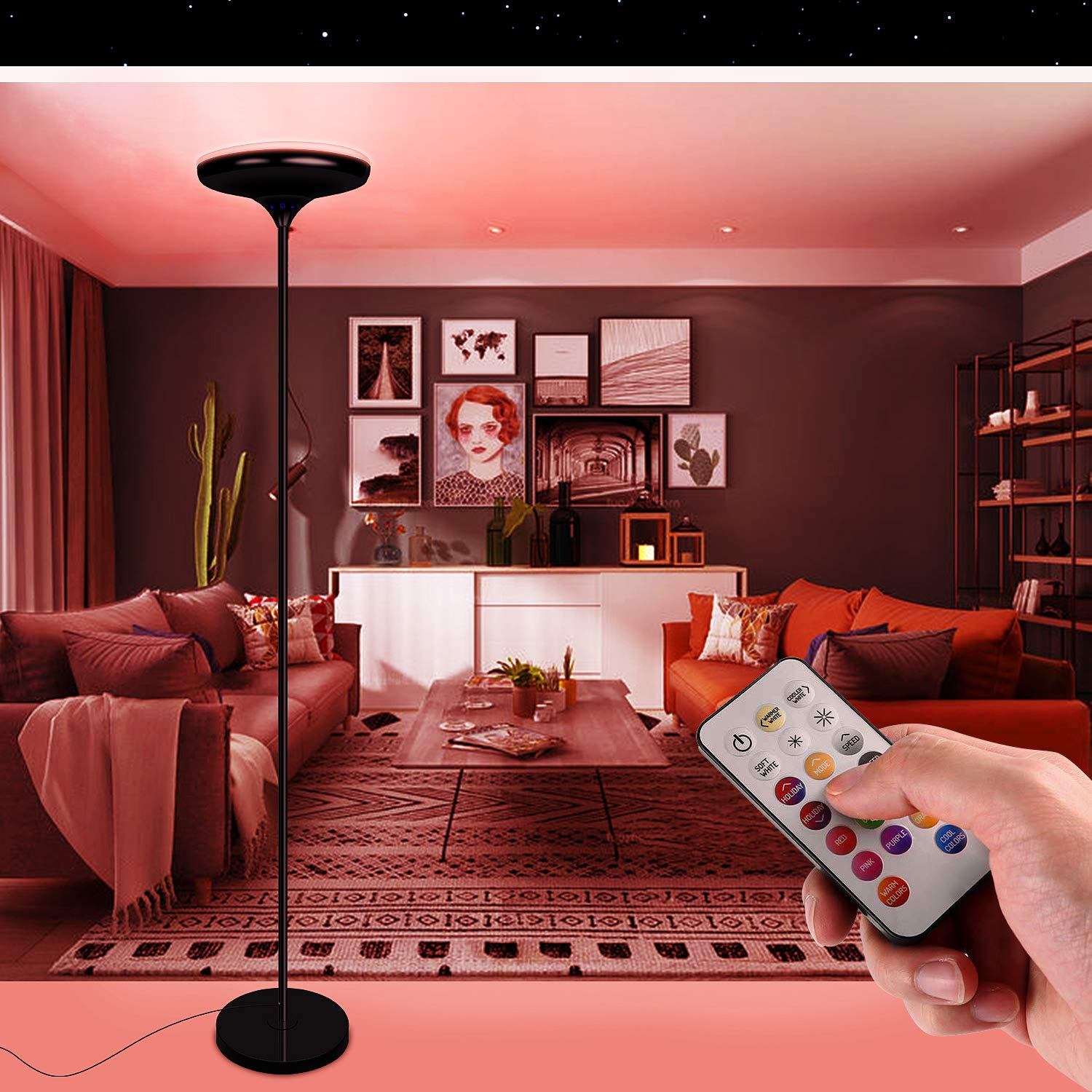 Details About 24w Dimmable Color Changing Led Floor Lamp With Remote Control For Bedroom