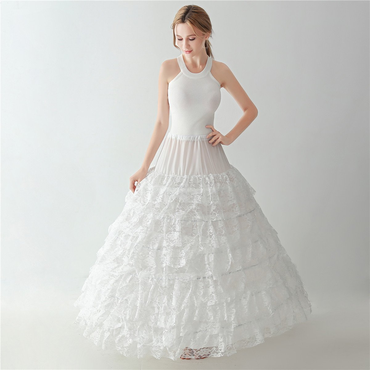 Women Full Length Lace 6 Hoop Skirt Petticoat Wedding Sandals Prom