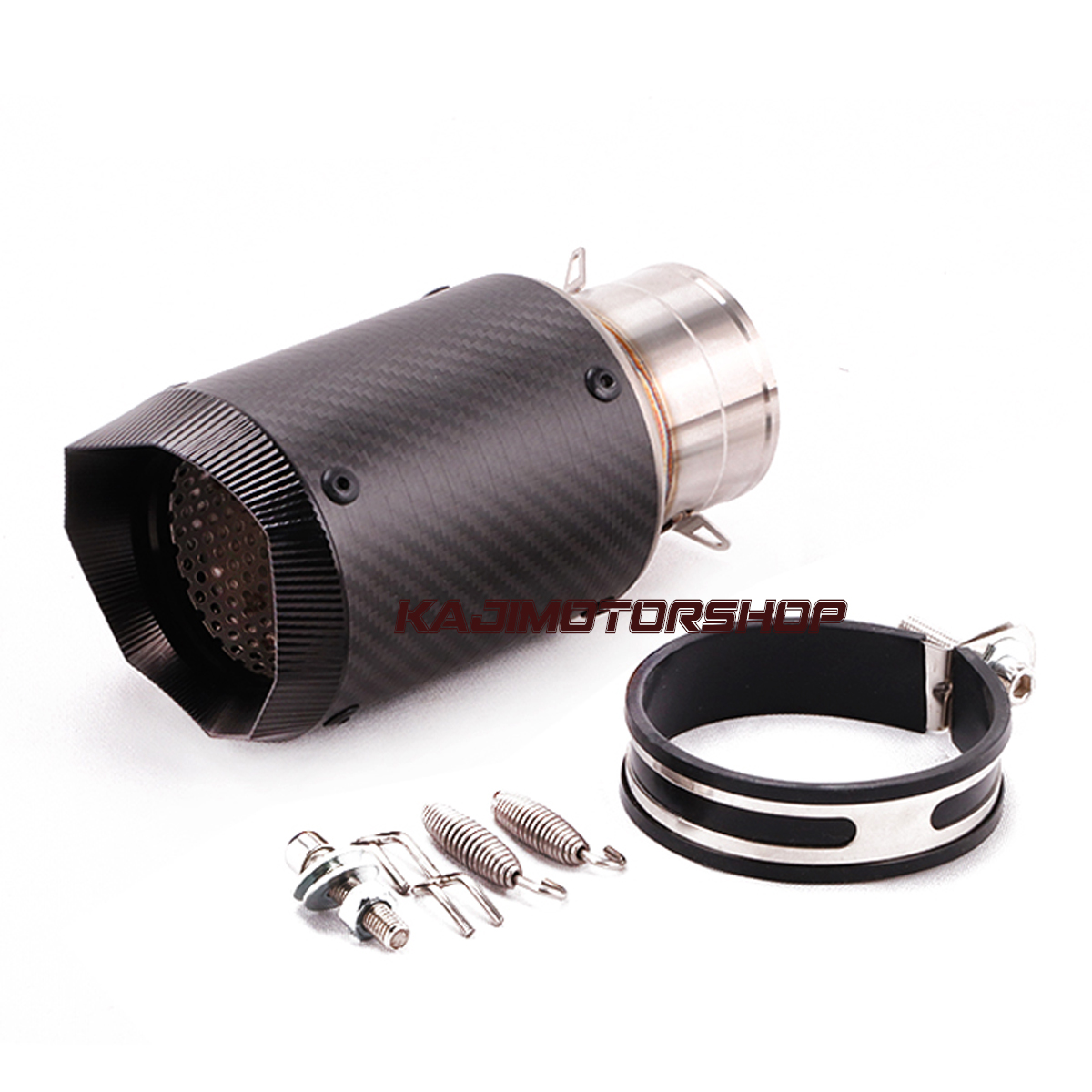 60mm Universal Motorcycle Exhaust Tip Muffler Vent Pipe Short 180mm Carbon Fiber