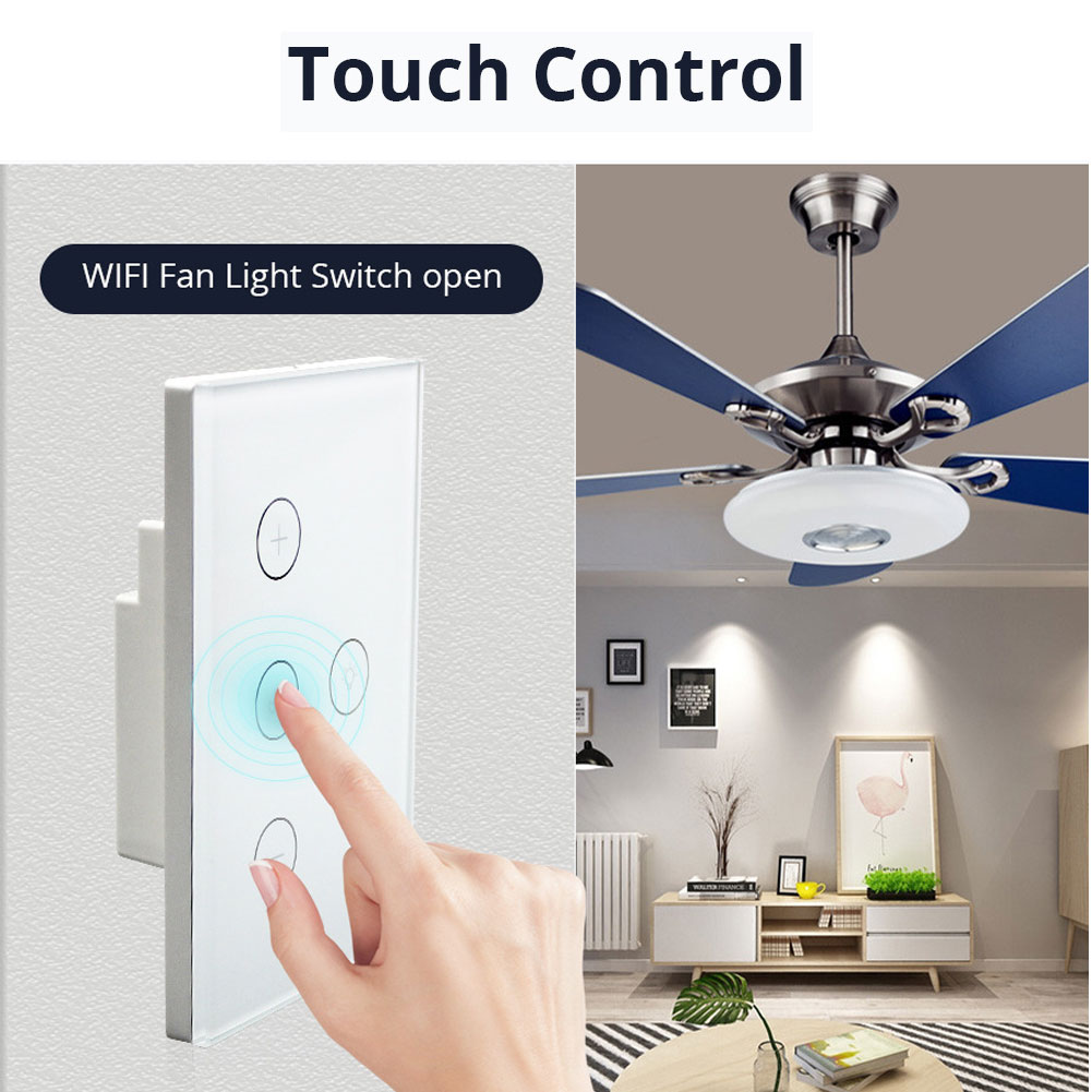 Wifi Smart Ceiling Fan Controller Wall Switch Touch Panel Fit For