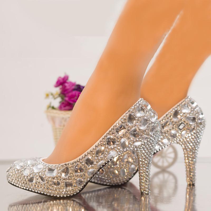 Silver Rhinestone Crystal Diamond Wedding Shoes Bridal High Heels