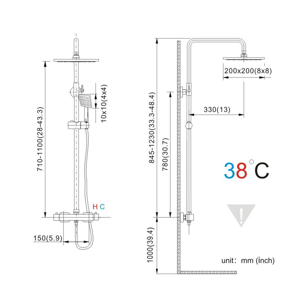 colonne de douche thermostatique hauteur r glable avec thermostat salle de bains ebay. Black Bedroom Furniture Sets. Home Design Ideas