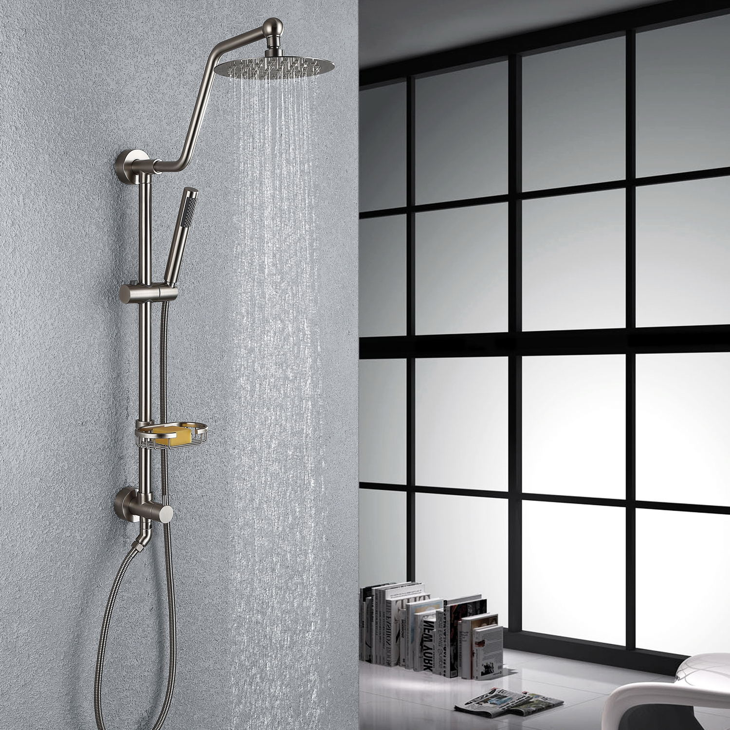 Details About HOMELODY Wall Mounted Slide Bar Rain Shower Column With Hand Shower  Head Set