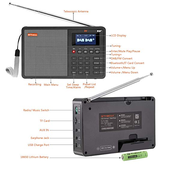d1 dab radios 1 8 lcd display tragbare fm dab radio. Black Bedroom Furniture Sets. Home Design Ideas