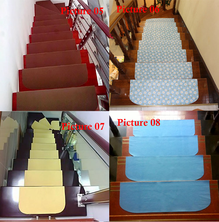 Set Of 13 Anti Slip Carpet Stair Treads Indoor Steps Rugs Mats 17