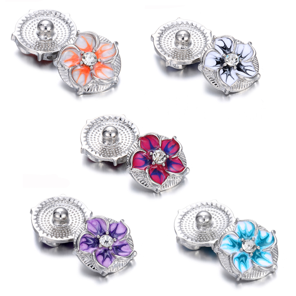 Hot Mixed Crystal Chunk Charm Ginger Snap Button Fit 18mm Drill Noosa Jewelry