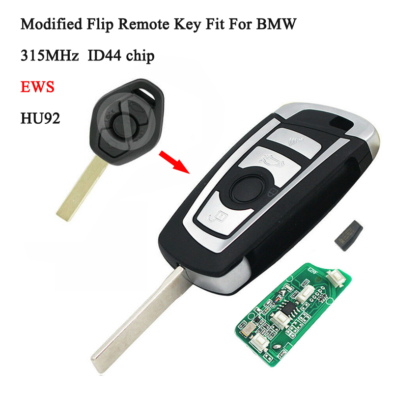 Modified Flip Remote Key EWS 315MHZ For BMW 3 5 Series